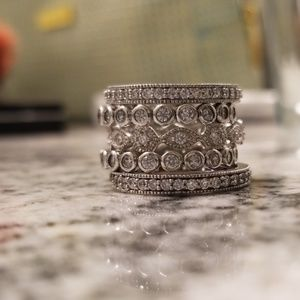 925 Sterling silver 5 stackable ring set
